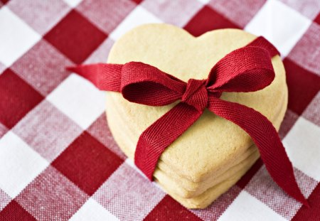 Sweet Heart Cookies - ribbon, heart, bow, food, photography, cookie, love, red, gift