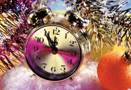 New year time - decoration, balls, time, beautiful, santa, pretty, nice, mood, snow, clock, holiday, candles, new year, colorful, lights, lovely, christmas, midnight