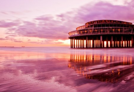 spectacular pier restaurant and casino - clouds, pier, pink, sea, beach