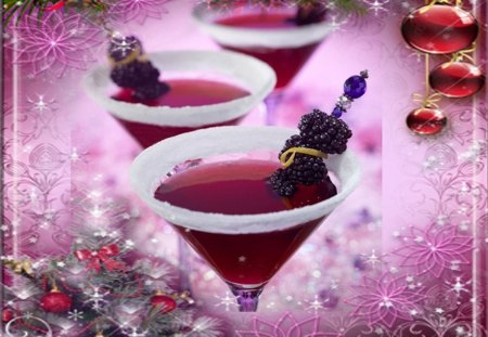 'RUBY COCKTAIL CHRISTMAS' - winter, tender touch, romantic, xmas and new year, lovely, ruby, colors, happiness, sweet, attractions in dreams, decorations, love four seasons, colorful, beautiful, adorable, celebrations, entertainment, seasons, cocktail