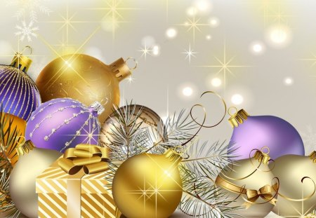 'Sparkling of Decorations' - love four seasons, tinsel, balls, beautiful, xmas and new year, vector arts, abstract, pretty, shining, seasons, purple, greetings, ribbons, gold, holiday, attractions in dreams, bows, colors, sparkles, lovely, decorations, ornaments