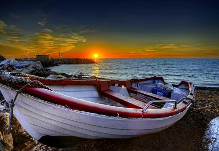 RESTING BOAT at DUSK - rest, sunset, boat, shore, sea