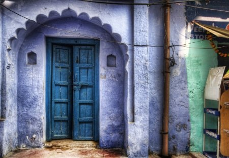 beautiful blue doors hdr - doors, entrance, house, hdr