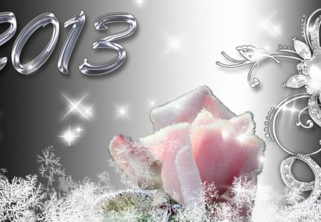 Frosty 2013 - rose, sparkle, new year, frosty, happy, silver, frost, ice, stars, cold, 2013, winter, shine