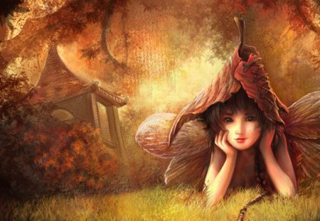 Fee fantasy - wings, autumn, anime, girl, moon, fairy, forest, fantasy, sweet