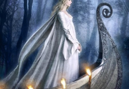 White Lady - water, light, elf, boat, forest, women, cg