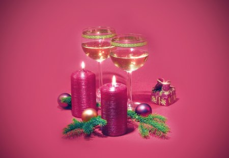Candle - wine, christmas, candle, drink