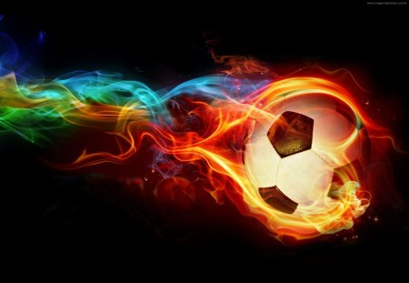 neon fire soccer ball - colorful, cool soccer, ball, soccer, soccer ball, epic, sports, fire, rainbow