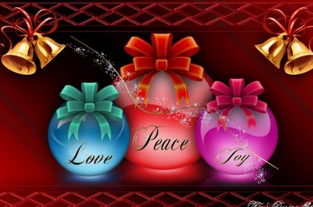 Love,Peace,Joy - ornaments, abstract, colors, decorations, holiday, christmas