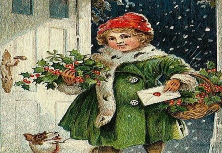 Christmas Homecoming - dog, green, baskets, girl, holly, snow, christmas, mail