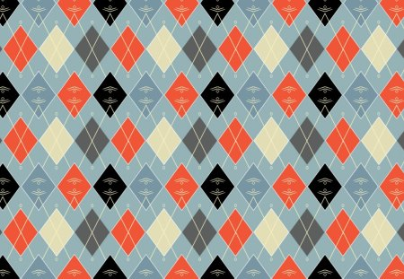 Argyle_Winter II - diamonds, snowflakes, black, blue, red, pattern, winter, gray