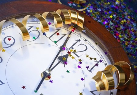 New year - decoration, beautiful, new year, ribbon, lovely, christmas, nice, clock, holiday
