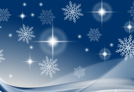 Snowflakes - feliz navidad, abstract, blue, bright, christmas, stars, new years, snowflakes, snow, wind, blowing, winter, shine, breeze