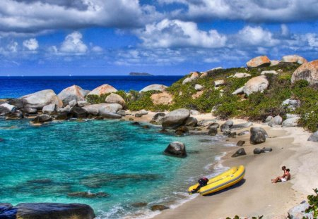 secluded beach in the british virgin islands - island, couple, boat, secluded, beach