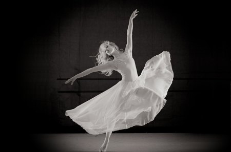 Dancer - woman, white, dress, dancer