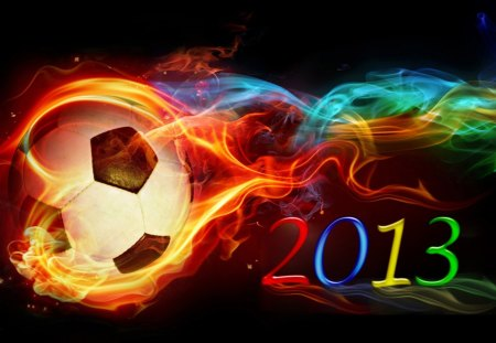 Football 2013 - football, football 2013, fire, ball