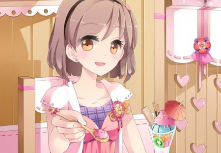 Want some other anime background wallpapers on desktop - Anime girl ice cream ...