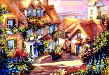 Cottage Painting - painting, garden, path, cottage
