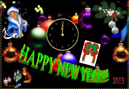 happy new year - card, fete, beautiful, happy new year