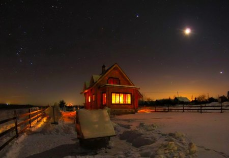 Starry winter night - field, winter, frost, nice, romantic, fence, nature, house, frozen, light, lovely, village, starry, cottage, moon, ice, cabin, snow, night, stars, beauty, moonlight, bright, beautiful, amazing, snowy, cold, sky, evening