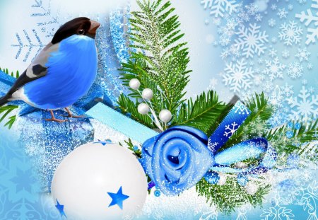 Blue bird winter season winter nature background - Rose in snow wallpaper ...