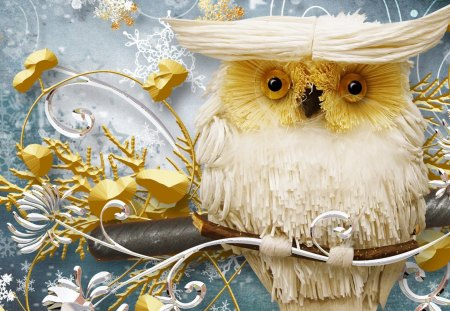 Wise Winter Owl - owl, collage, decorations, snowflakes, bird, snow, Christmas, whimsical, gold, winter