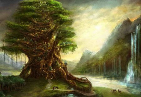 Elven Tree - green, eleven, home, tree, elven, picture, fantasy
