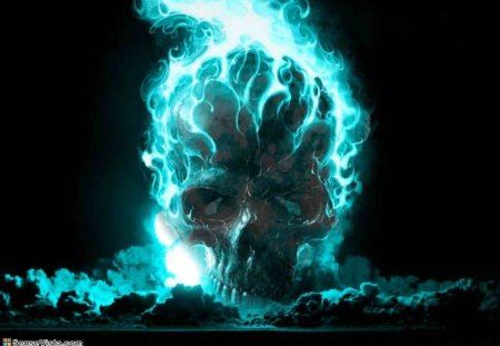 Blue Flames - blue fire, blue flames, its so cool, skull, blue flame, flamin skull