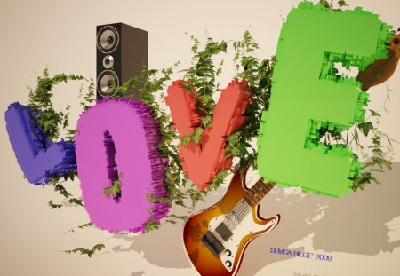 fancy love! - letters, sterio, abstract, friends, beauty, typo, word, guitar, grass, love, green, colors, cute, lovely, heart, fresh, charming, 3d, music