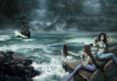 Sirens on the rocks - storm, Deviant art, Sirens on the rocks, waves, mermaids, boat, ReddEra art