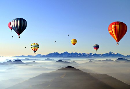 Up In The Sky - balloons, splendor, hot air balloon, beautiful, hot air balloons, balloon, beauty, landscape, mountains, sunrise, colorful, sky, colors, lovely, clouds, nature, peaceful