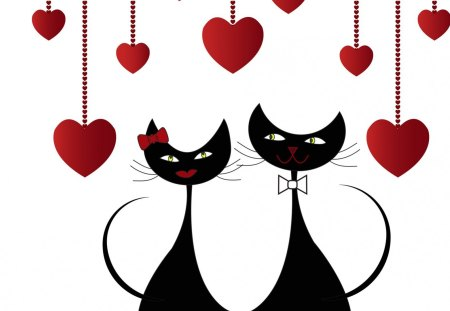 Valentine Cats - Valentines Day, cute, black and white, hearts, February, kitten, felines, cat, whimsical, love, kitties, sweet, kitty, romance