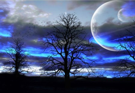 Magical Skies - skies, moon, blue, tree, magical