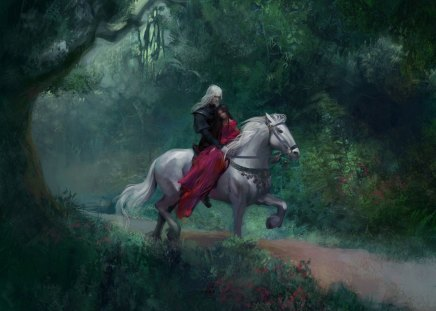Forest Rider - horse, ride, white horse, rider, forest, fantasy