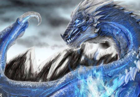 Blue Dragon - fantasy, silver, blue, dragon, animal, game, creature