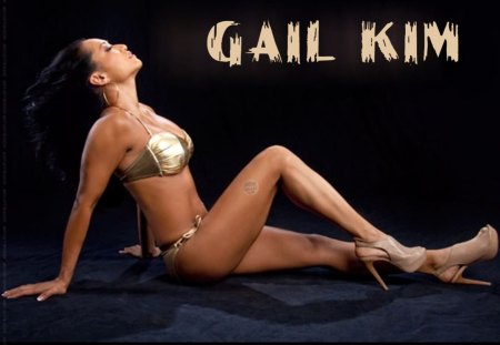 Gail Kim - swimwear, heels, gail-kim, asian, model, black, wrestling, gold
