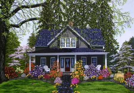 Garden House Houses  Architecture Background Wallpapers On - House garden with flowers