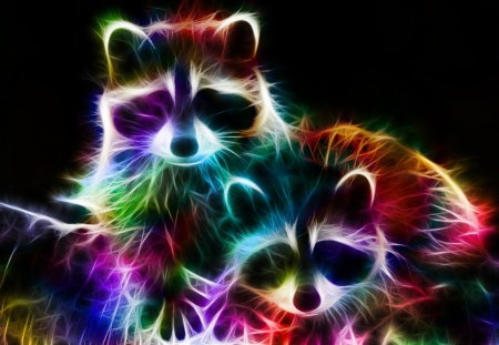 fractal_racoons_by_minimoo64 - Other & Animals Background ...