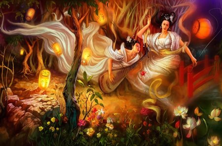 ★Angels Playing Music★ - splendor, lotus, angels, pretty, art, women, night, female, lamps, paintings, migrate, lotus pond, holy, sweet, Asian, lips, girls, playing, happiness, parks, bracelet, lilies, move, dresses, melodic, soft, Fantasy, leaves, smoke, charm, wisdom, hair, flying, dress, flowers, garden, face, rocks, Oriental, jewelry, guitar, hold, tender touch, butterflies, trees, cute, divine, music, jolly, grasses, cool, beautiful, fairies, barrette, intelligence, eyes, necklace, gentle, earrings, colorful, lights, colors, lovely, roses, bridge, sacred