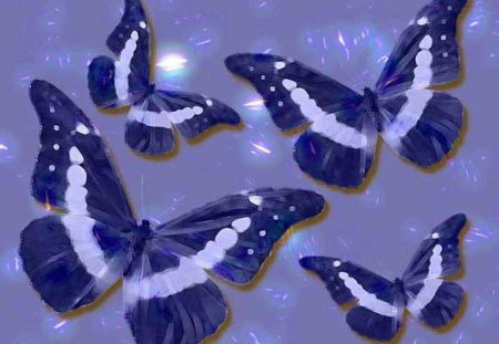 Colorful Butterflies - blue, painting, colorful butterflies, white