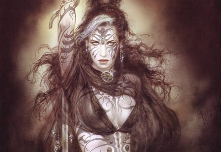 Luis Royo (Sati Dance) - female, girl, luis royo, lady, woman, tattoo, sword, fantasy