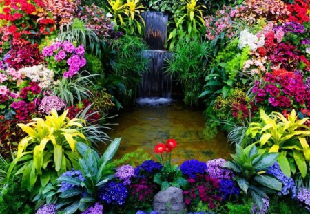 wonderful garden beautiful flowers beauty waterfall garden nature - Beautiful Flower Gardens Waterfalls