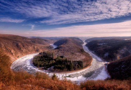 the river saar in france - frozen, clouds, gorge, river, horseshoe
