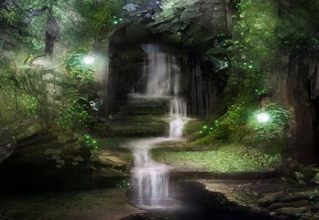 Mysterious Cave and Waterfall - lamp, water, lake, light, trees, stones, birds
