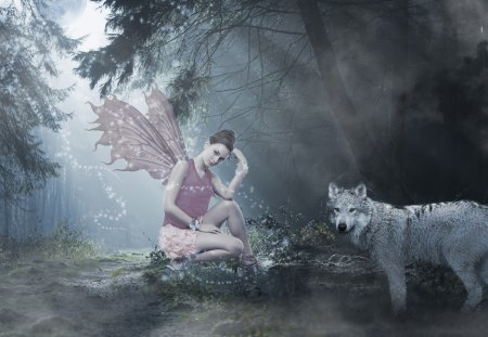 Fairy and Wolf - Wolf, Fantasy, Fairy, Forest