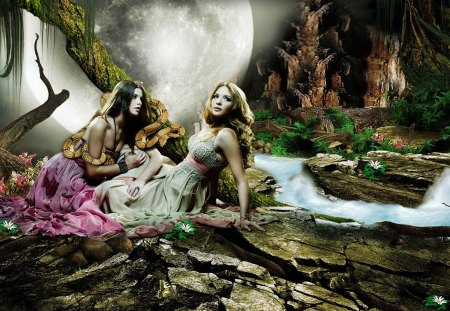 Eve's Temptation - Moon, Fantasy, Girls, Women