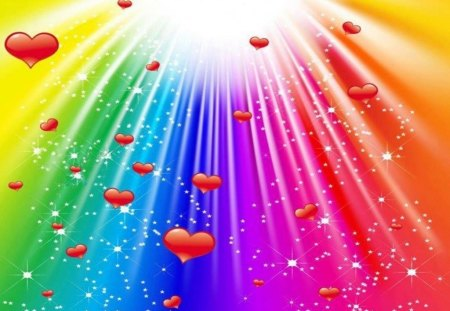 Hearts and Rainbows - 3D and CG & Abstract Background ...