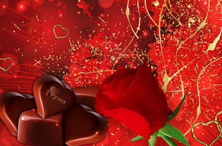 Chocolates and a Red Rose - chocolates, Valentines Day, candy, lovers, romantic, hearts, flower, red rose, love, gold