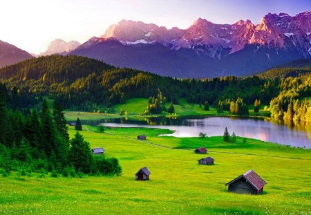 Mountain houses - field, pond, slope, nice, cottages, mountain, nature, view, lovely, grass, village, houses, greenery, meadow, cabins, summer, peaks, lake, beautiful, green, pretty
