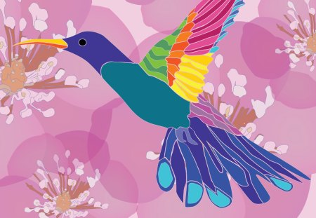 Floral Hummingbird - flowers, spring, colorful, pink, girly, flower, hummingbird, bird, feminine